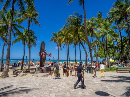 WAIKIKI, HI - AUG 3: Duke Kahanamoku Statue on Waikiki Beach on August 3, 2016 in Honolulu. Duke famously popularized surfing and won gold medals for the USA in swimming.