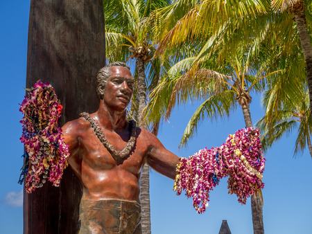 duke: WAIKIKI, HI - AUG 3: Duke Kahanamoku Statue on Waikiki Beach on August 3, 2016 in Honolulu. Duke famously popularized surfing and won gold medals for the USA in swimming.