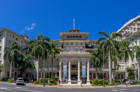 HONOLULU, HI - AUG 3: Front exterior panorama of the Moana Surfrider on August 3, 2016 in Honolulu. Known as the First Lady of Waikiki, is a famous historic hotel on the island of Oahu built in 1901. Editorial