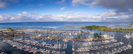 Panoramic view of the Ala Moana Beach Park and Magic Island Lagoon in Honolulu, Hawaii.