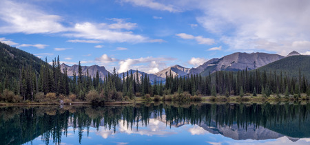 Forget Me Not Pond in Kananaskis in the early morning. Alberta, Canada. Stock Photo