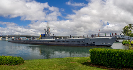 OAHU, HI - AUG 5, 2016: USS Bowfin submarine in Pearl Harbor museum on August 5, 2016 in Oahu. Attack on Pearl Harbor by Empire of Japan in 1941 brought United States into World War II.