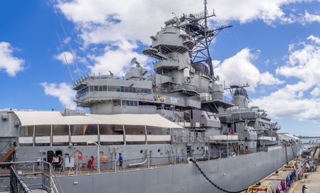 treaty: OAHU, HI - AUG 5, 2016: The USS Missouri battleship on August 5, 2016 in Pearl Harbor, USA. Site of the treaty signing ending WWII between the US and Japan, is now berthed in Pearl Harbor. Editorial