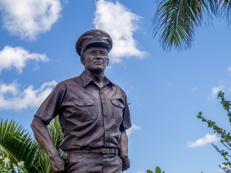 stature: OAHU, HI - AUG 5, 2016: Stature of Admiral Nimitz at the USS Missouri on August 5, 2016 in Pearl Harbor, USA. He played a major role in World War II as Commander in Chief, United States Pacific Fleet