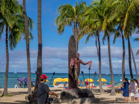duke: WAIKIKI, HI - AUG 6: Duke Kahanamoku Statue on Waikiki Beach on August 6, 2016 in Honolulu. Duke famously popularized surfing and won gold medals for the USA in swimming.
