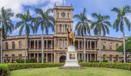 king street: HONOLULU, HI - AUG 6: King Kamehameha I Statue, by Thomas Gould, on August 6, 2016 in Honolulu, Hawaii. It is in front of Ali iolani Hale, the Hawaii Supreme Court Building on King Street in Honolulu.