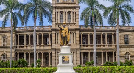 HONOLULU, HI - AUG 6: King Kamehameha I Statue, by Thomas Gould, on August 6, 2016 in Honolulu, Hawaii. It is in front of Ali iolani Hale, the Hawaii Supreme Court Building on King Street in Honolulu.