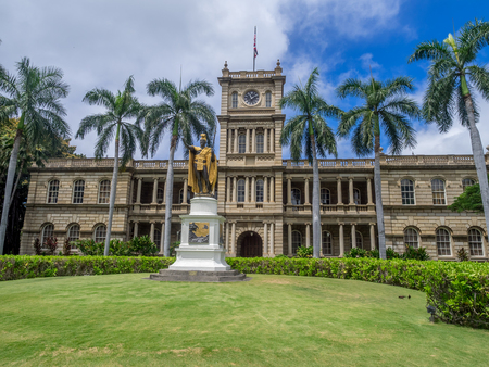 hale: HONOLULU, HI - AUG 6: King Kamehameha I Statue, by Thomas Gould, on August 6, 2016 in Honolulu, Hawaii. It is in front of Ali iolani Hale, the Hawaii Supreme Court Building on King Street in Honolulu.