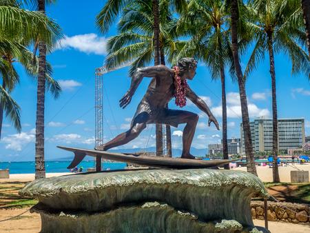 duke: HONOLULU, USA - AUG 8: Duke Kahanamoku Statue on Waikiki Beach on August 8, 2016 in Honolulu. Duke famously popularized surfing and won gold medals for the USA in swimming.