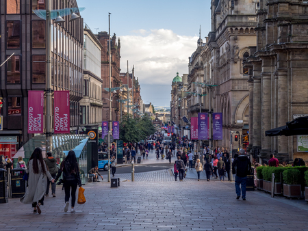 GLASGOW, SCOTLAND - JULY 21: Buchanan Street on July 21, 2017 in Glasgow, Scotland. Buchanan Street is the main shopping district in Scotland and has many fine restaurants and shops.
