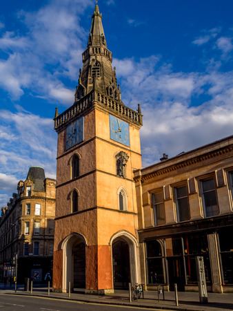 GLASGOW, SCOTLAND - JULY 20: : The Tron Theatre and Steeple at sunset from Argyle Street on July 20, 2017 in Glasgow. This building is a landmark at Trongate in the Merchant City area of Glasgow. Editorial