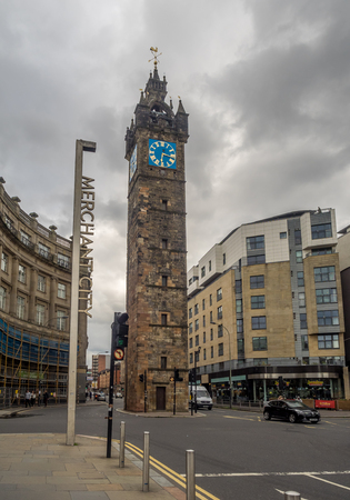 GLASGOW, SCOTLAND - JULY 21: Merchant City with the Tolbooth Steeple on July 21, 2017 in Glasgow, Scotland. Merchant City was the historic trading centre of Glasgow.