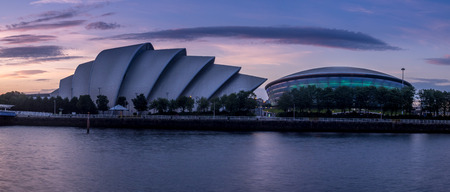 GLASGOW, SCOTLAND - JULY 21: The River Clyde with the Millennium Bridge, the SEC Armadillo and SEE Hydro on July 21, 2017 in Glasgow, Scotland. The Armadillo is Glasgow main conference space. Editöryel