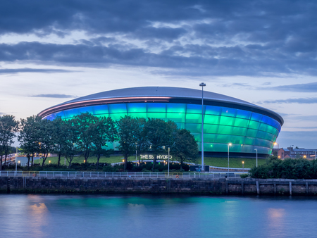 GLASGOW, SCOTLAND - JULY 21: The SSE Hydro at night on July 21, 2017 in Glasgow, Scotland. The Hydro arena is part of Glasgows conference and event district. Editorial