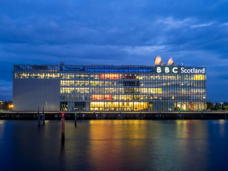 GLASGOW, SCOTLAND - JULY 21: The River Clyde with BBC Scotland building on July 21, 2017 in Glasgow. BBC Scotland produces many movies, shows and local broadcasts to the country of Scotland. Editorial