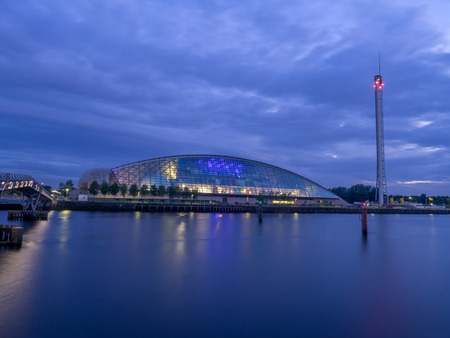GLASGOW, SCOTLAND - JULY 21: The River Clyde with Glasgow Science Centre building on July 21, 2017 in Glasgow, Scotland. BBC The Science Centre is an attraction that is part of the Clyde redevelopment