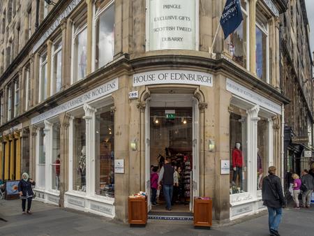 EDINBURGH, SCOTLAND - JULY 26: House of Edinburgh apparel shop along the Royal Mile on July 26, 2017 in Edinburgh, Scotland. There are many such shops on the Royal Mile serving tourists. Editorial