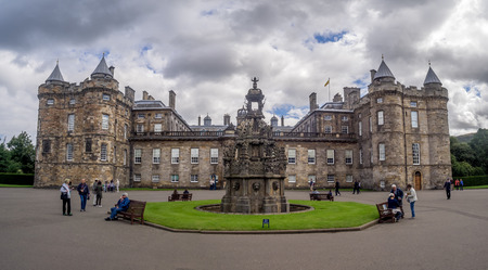 EDINBURGH, SCOTLAND - JULY 28: The Holyrood Palace on July 28, 2017 in Edinburgh, Scotland. Holyrood Palace is the official residence of the Monarch of the United Kingdom in Edinburgh, Scotland.