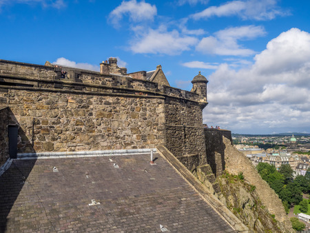 EDINBURGH, SCOTLAND - JULY 29: External facades and fortifications at Edinburgh Castle on July 29, 2017 in Edinburgh Scotland. Edinburgh Castle is full of many ancient buildings.