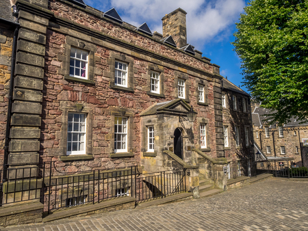 EDINBURGH, SCOTLAND - JULY 29: External facades of buildings at Edinburgh Castle on July 29, 2017 in Edinburgh Scotland. Edinburgh Castle is full of many ancient buildings.