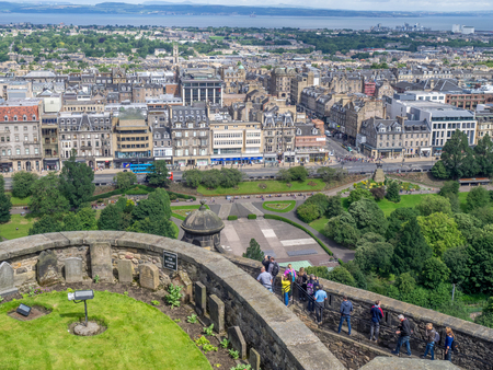 EDINBURGH, SCOTLAND - JULY 29: View of of officers dog cemetery and Edinburghs streets from Edinburgh Castle on July 29, 2017 in Edinburgh Scotland. Edinburgh Castle is a favorite destination..