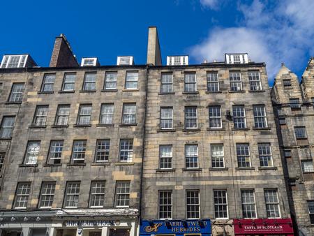 EDINBURGH, SCOTLAND - JULY 29: Grand old buildings along the Royal Mile on July 29, 2017 in Edinburgh, Scotland. There are many amazing old buildings on the Royal Mile. Sajtókép