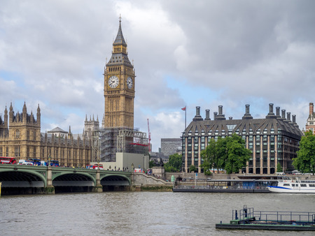 View along the shores of the Thames close to Westminster in London, UK.