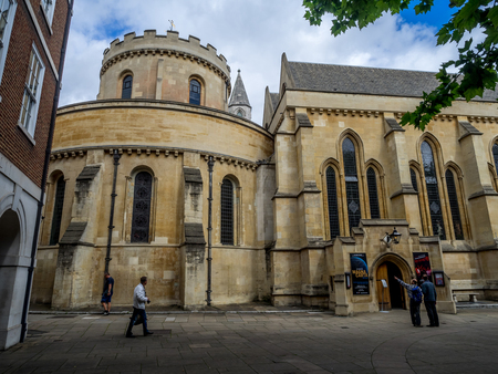 LONDON UK - AUG 3: the impressive Temple Church in the City of London on August 3, 2017. Temple Church was built by Templars in the 12th century and is a popular destination.