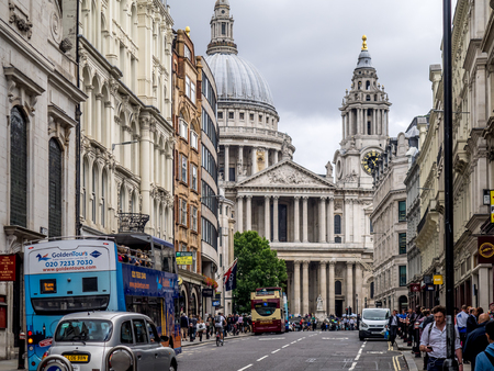 Looking up Fleet Street towards famous St. Paul's Cathedral in London