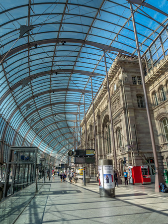 Strasbourg, France - July 25, 2018: Interior of the Strasbourg train station in the summer. Gare de Strasbourg is the main rail hub for the region.