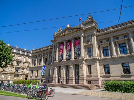 Straßburg, Frankreich - 26. Juli 2018: Das Wahrzeichen der Bibliothèque nationale et universitaire de Strasbourg oder der Nationalbibliothek der Universität Straßburg. Das Gebäude stammt aus deutscher Zeit. Editorial