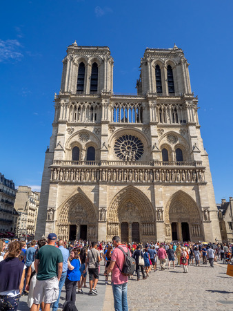 Paris, France - July 28, 2018: The famous Notre Dame Paris on a beautiful summer day in Paris France. Notre Dame is one of the countries most famous tourist attractions.