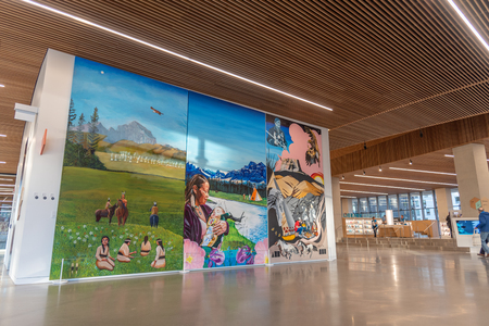Calgary, Alberta - December 15, 2018: Interior of Calgary`s new Central Branch of the Calgary Public Library.  The library opened in November 2018 and was designed by Snøhetta which is a renowned international firm based in Olso Norway and New York.