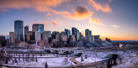Sweeping skyline view at sunset on a  cold winter day. Calgary is home to many oil companies.