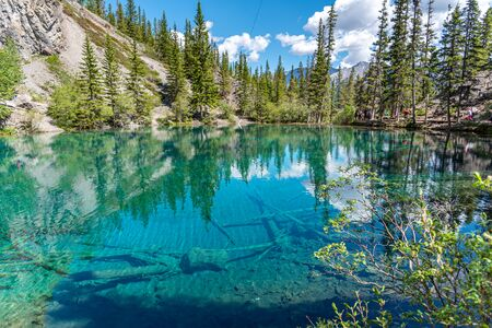 Turquoise Grassi Lakes in the the Kananaskis Country park system of Alberta near Canmore in the southern Canadian Rockies. The area is very popular destination with hikers and rock climbers.