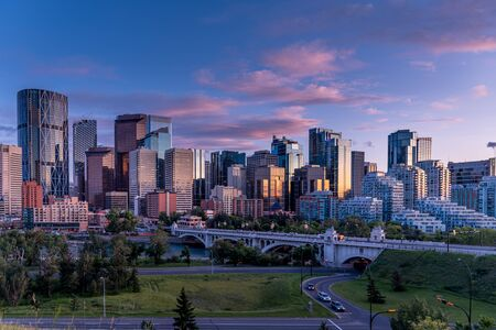 Sweeping skyline view of Calgary, Alberta Canada