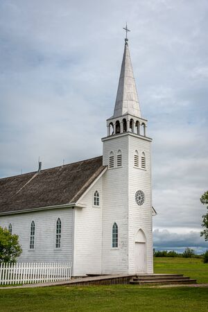 Saint Antoine de Padoue Church located next to the Rectory in Batoche , Canada. It was built using a Red River frame construction.