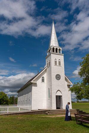 Saint Antoine de Padoue Church located next to the Rectory in Batoche Saskatchewan. It was built using a Red River frame construction.