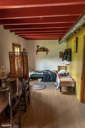 Batoche, Saskatchewan - August 6, 2019: Interior of the St. Antoine de Padoue Rectory. It is located at the Batoche National Historic Site of Canada. Editorial