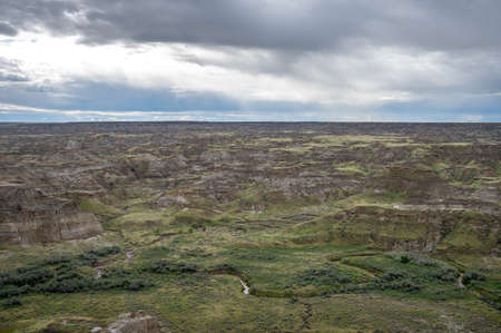 Dinosaur Provincial Park in Alberta, Canada, noted for its striking badland topography and abundance of dinosaur fossils, one of the richest fossil locales in the world.
