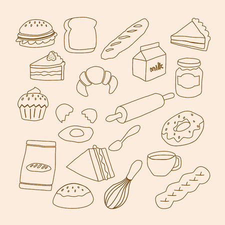 dough nut: bakery objects Illustration