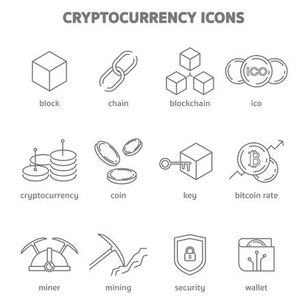 cryptocurrency blockchain technology icons vector
