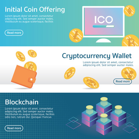 Initial coin offering ico cryptocurrency set banner vector