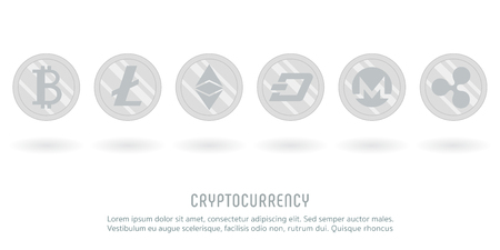 cryptocurrency crypto silver coin vector Ilustrace