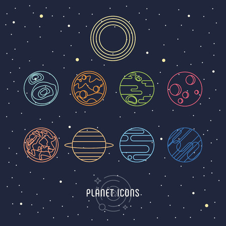Planet galaxy outline icons vector