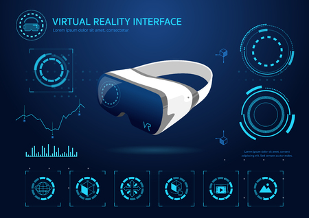 Virtual reality interface technology glasses vector