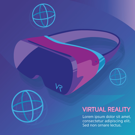 VR Virtual reality glasses technology vector Çizim