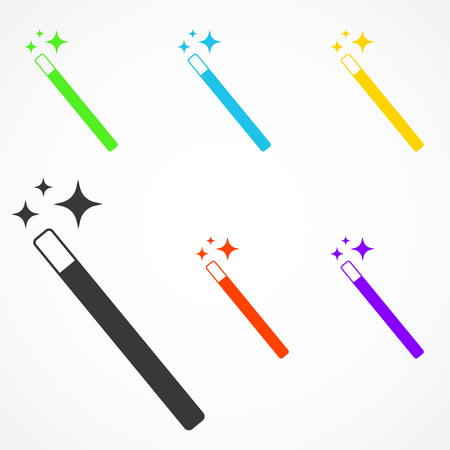 star wand: Set of Magic Wand icon with star sparkle. Flat style magic wand icon. Isolated on white background.