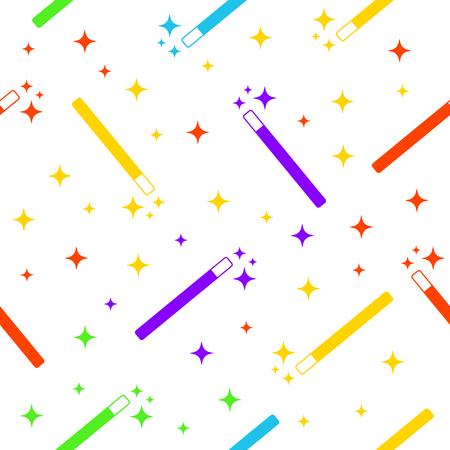 magie: Baguette magique avec color�s �toiles magiques multicolores seamless fond. Magie texture baguette. Magie ic�ne baguette. �toiles baguette magique.