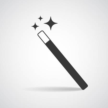 star wand: Magic Wand icon with star sparkle. Flat style magic wand icon. Isolated on white background.